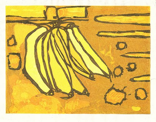 Bananas Float (2020) Adrian Holmes, Woodblock Printing /Relief /Traditional Japanese printing methods , 26.5 cm x 20.5 cm