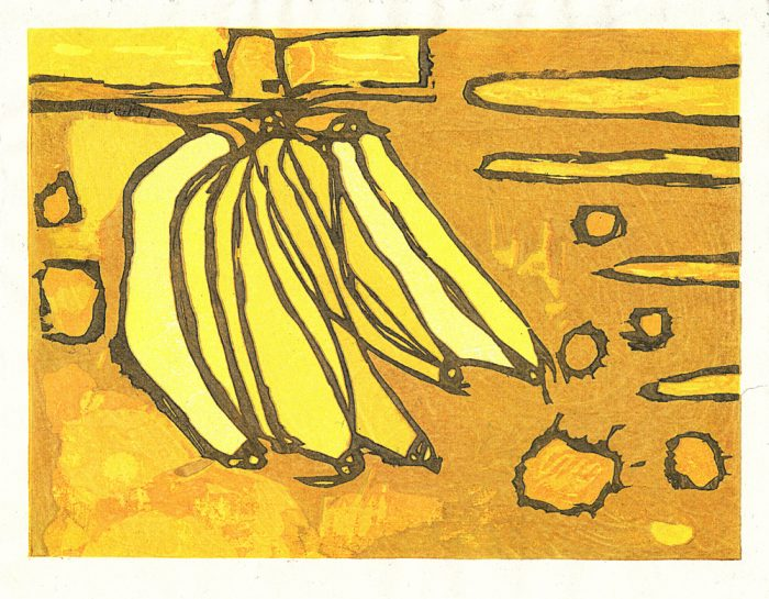 Bananas Float (2020) Adrian Holmes, Woodblock Printing /Relief /Traditional Japanese printing methods , 26.5 cm x 20.5 cm