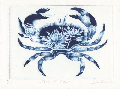 Crab in blue (2019) Susanna Widmann, Photopolymer Intaglio, 25cmx17.5cm