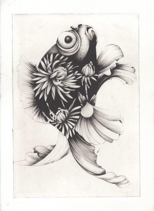 Dahlia Fish (2018) Susanna Widmann, Photopolymer Intaglio, 25cmx17.5cm