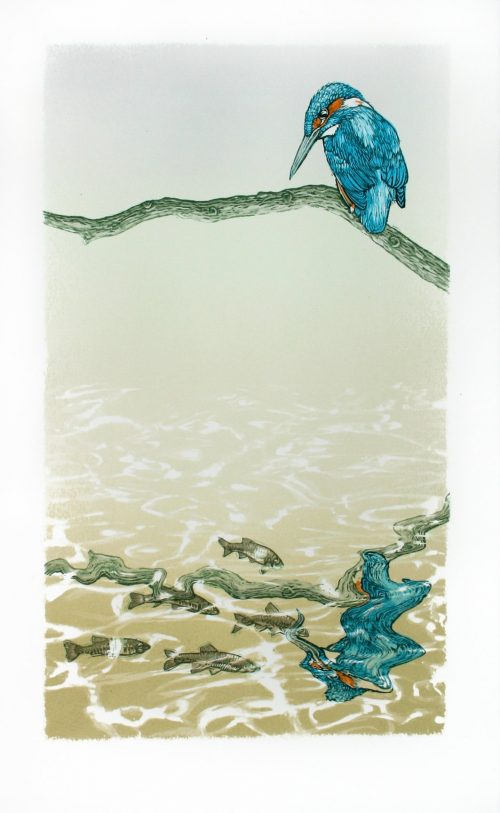 Fisherman (2020) Colin Blanchard, Linocut and screenprint, 29 x 47 cm