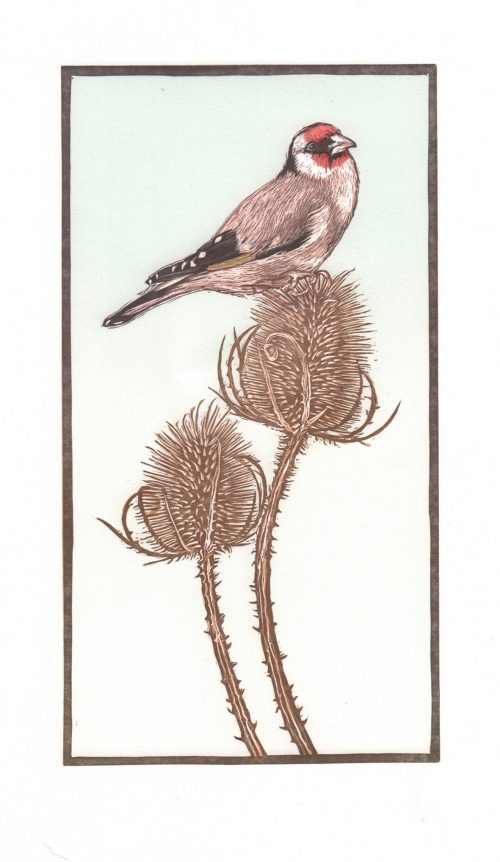 Goldfinch (2018) Colin Blanchard, Linocut and Screenprint (+ gold leaf), 25 x 41 cm