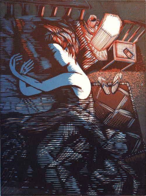 Holding Air (2019) Wuon-Gean Ho, linocut, 24 x 31