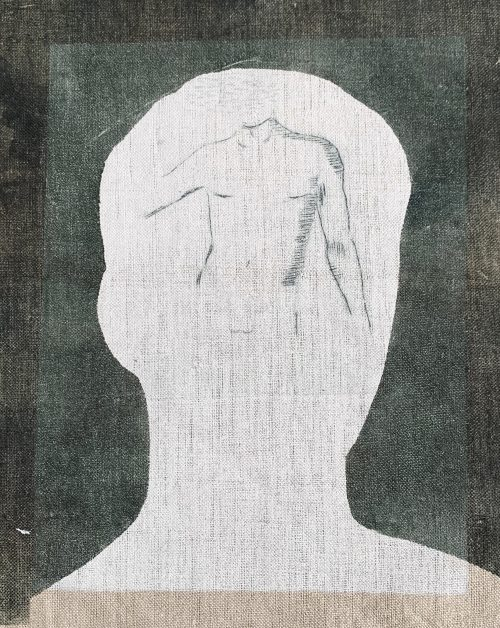 There You Are (2018) Naomi Frears, Drypoint and monoprint on linen 1/1, 22 x 19 cm