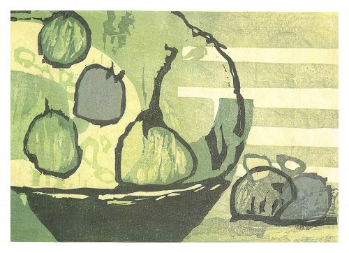 Pear & Limes (2020) Adrian Holmes, Woodblock Print / Relief Print Traditional Japanese printing methods , 38 cm x 26 cm