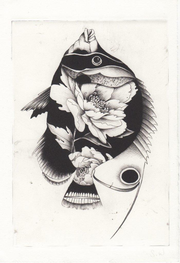 Peony Fish (2018) Susanna Widmann, Photopolymer Intaglio, 25cmx17.5cm