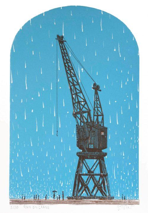Rain on Crane - Simon Tozer - Discover Contemporary Art Prints & Printmaking