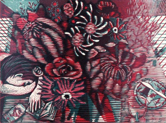 She Dreams of Flowers (2018) Wuon-Gean Ho, Linocut, 24 x 31