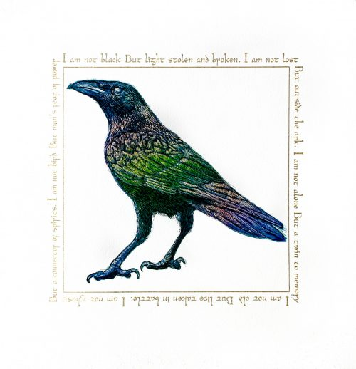 Song of the Raven (2019) Colin Blanchard, Linocut and screenprint with Gold leaf, 50 x 55 cm