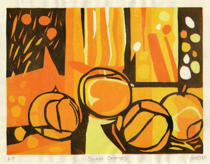 Sweet Oranges (2020) Adrian Holmes, Woodblock Printing /Relief /Traditional Japanese methods , 33 cm x 26 cm