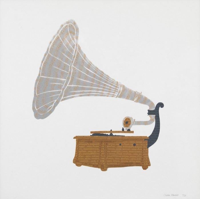 Victor III Phonograph, 1902 (2013) Sarah Stewart, Screenprinting, 50 x 50