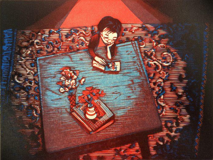 Blue Table Porto (2019) Wuon-Gean Ho, Linocut, 24 x 31