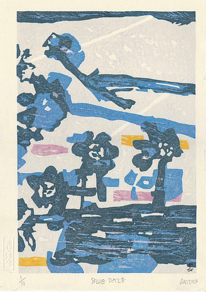 Blue Daze (2020) Adrian Holmes, Woodblock Printing /Relief /Traditional Japanese methods, 39cm x 28cm