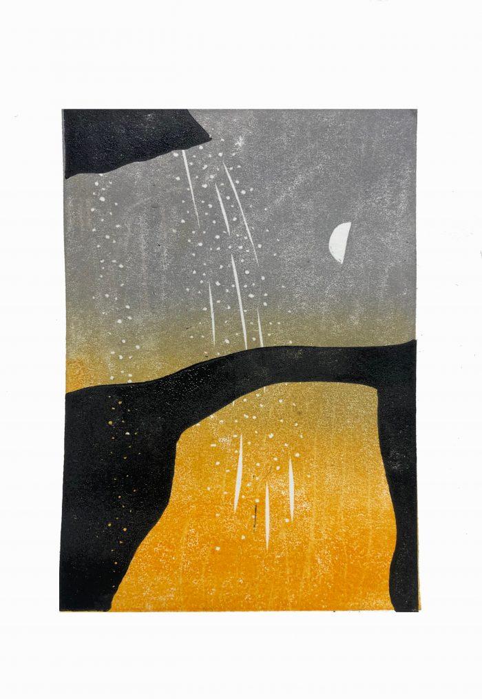 Cave Bridge (orange) - Grace Hailstone - Discover Contemporary Art Prints & Printmaking