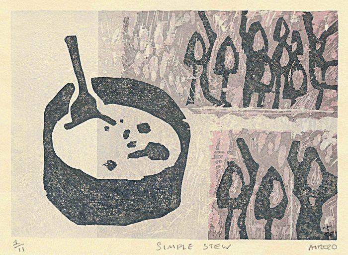 Simple Stew (2020) Adrian Holmes, Woodblock Printing /Relief /Traditional Japanese printing methods, 32.5 cm 23.5 cm
