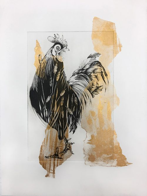 Cockerel (gold I) (2020) Susanna Widmann, Chine Collé on Photopolymer, 30 cm x 40 cm