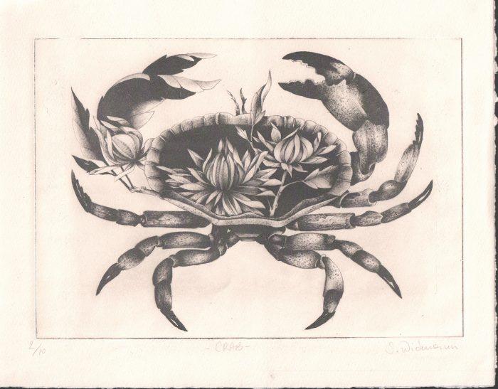 Crab (Vintage I) (2020) Susanna Widmann, Chine Collé and Photopolymer, 32 cm x 25 cm