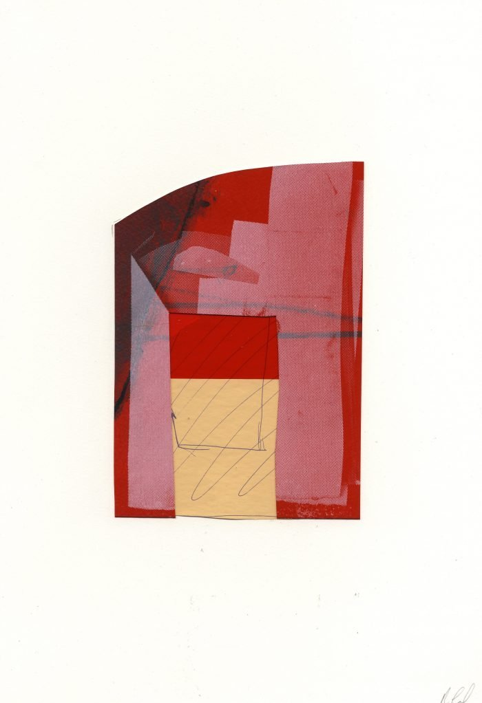 Lawn Rd Flats (Isokon) (2019) Rosalind Lawless, Screenprint with graphite, collaged with newsprint and pen, 30 x 39cm