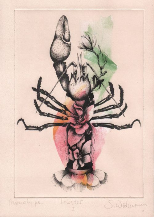 Lobster I (chine collé) (2020) Susanna Widmann, Chine collé, 25cm x 17,5cm
