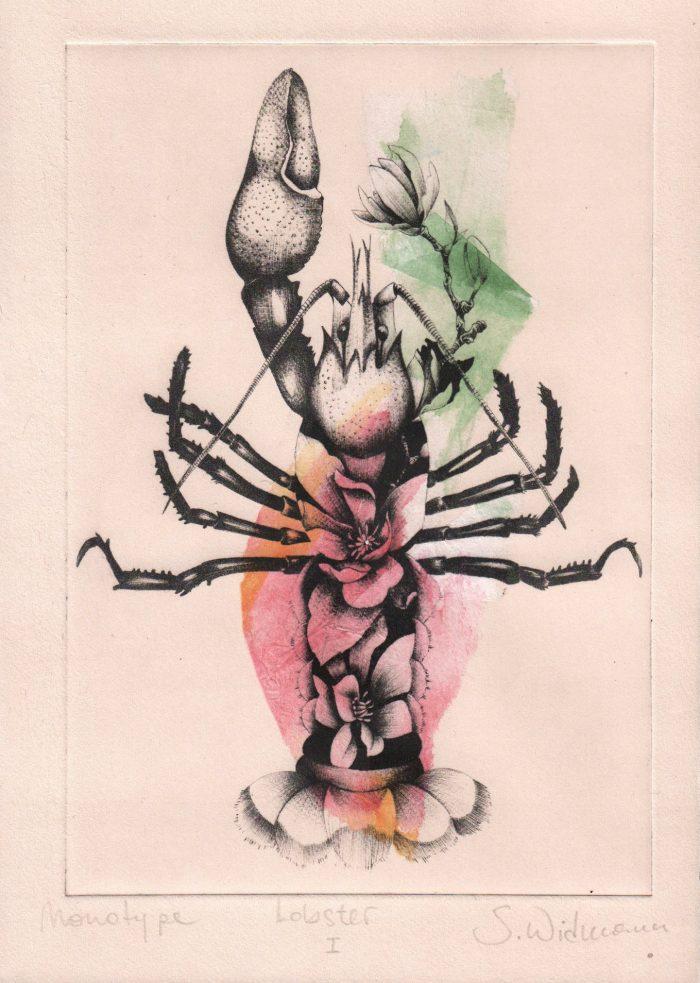 Lobster I (chine collé) (2020) Susanna Widmann, Chine collé, 25cm x 17,5cm
