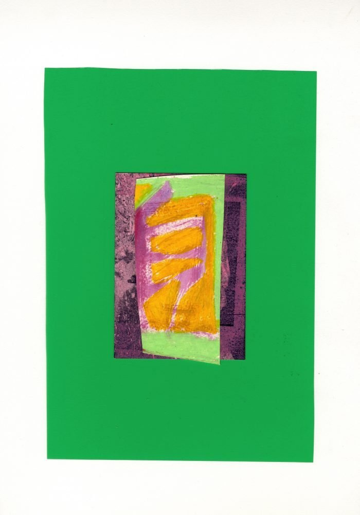 Rubbing Walls (2020) Rosalind Lawless, Relief, collaged with acetate, acrylic and oil pastel on somerset satin, 30 x 39cm