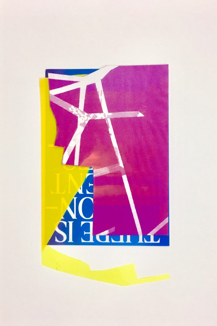Sculptural Study (2020) Rosalind Lawless, Screenprint collaged with acetate and postcard, 40 x 30cm