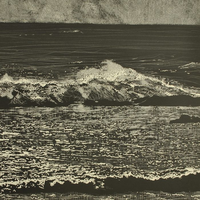 storm waves VI (2019) Trevor Price, Drypoint and engraved relief print, 35.5x35.5
