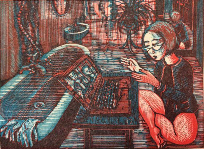 Covid Zoomin (2020) Wuon-Gean Ho, linocut, 24 x 31