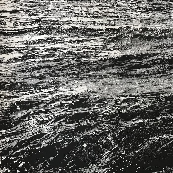 Storm waves X (2020) Trevor Price, Drypoint and engraved relief print, 35.5x35.5cm