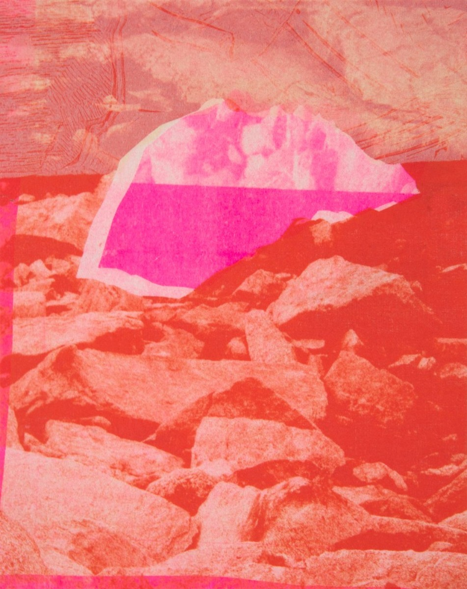 Blown Off,Intaglio in Relief, Photolithograph, and Risograph with Asuka and Chine Colle on 56x46cm