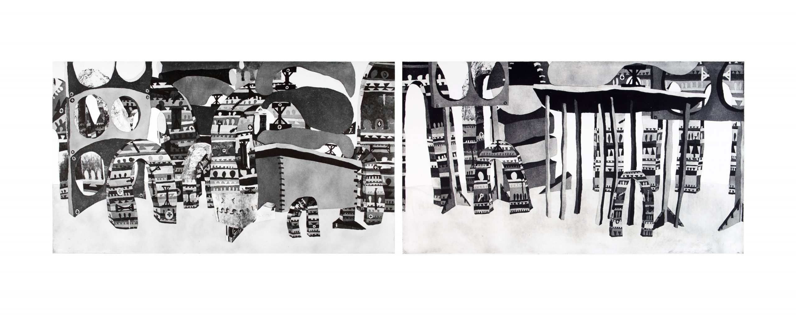 'Double Trouble_' 280 x 83cm_Aquating and Photo-Etching on Two seperate Copper Plates