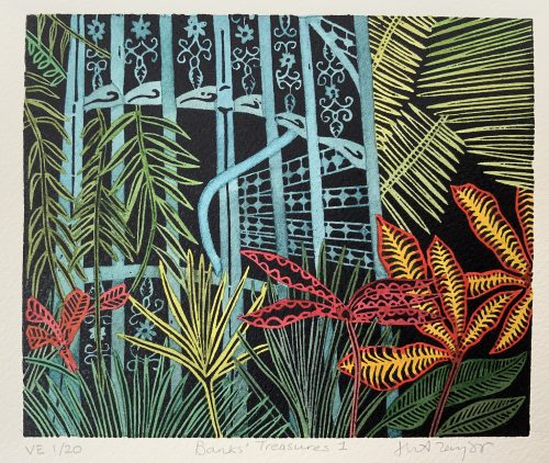 Banks Treasures I, Botanical Print by Helen Anne Taylor, linocut printmaker
