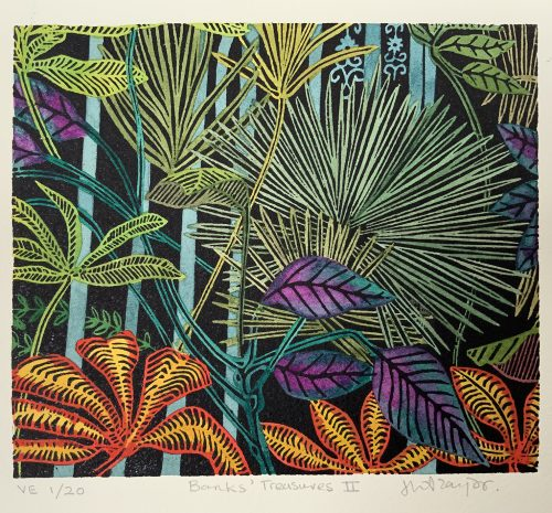 Banks Treasures II, Botanical Print by Helen Anne Taylor, linocut printmaker