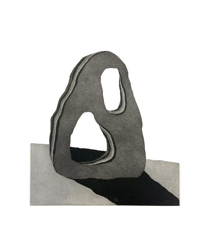 Holes, etching by print artist Ellie Hayward