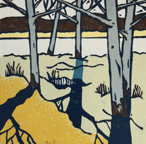Winter Shadow IV, linocut by print artist Lenny Lane