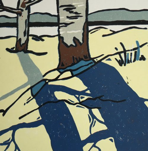 Winter Shadow III, linocut by print artist Lenny Lane