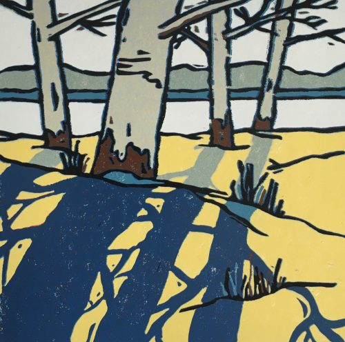 Winter Shadow II, linocut by print artist Lenny Lane