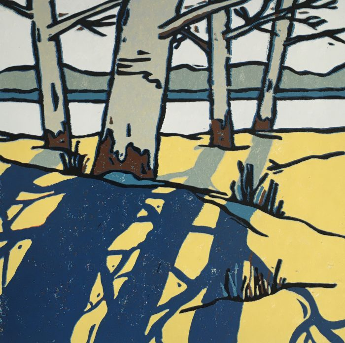 Winter Shadow II, linocut by print artist Lenny Lane