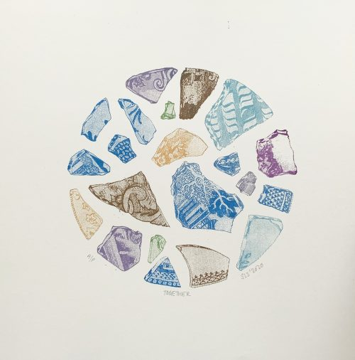 Together, Screenprint by print artist Sarah Stewart