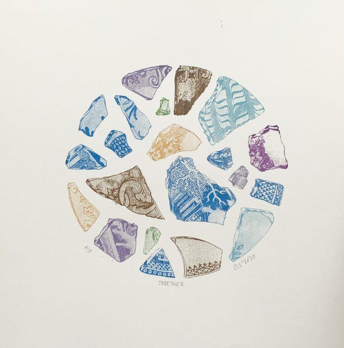 Together, Screenprint by print artist Sarah Stewart
