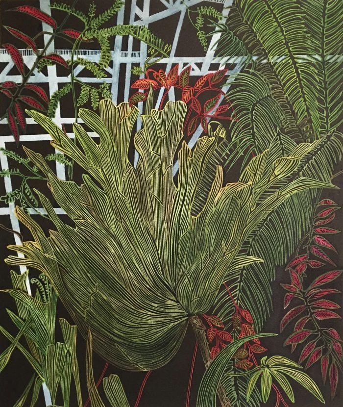 Bred in Captivity, Botanical Print by Helen Anne Taylor, linocut printmaker