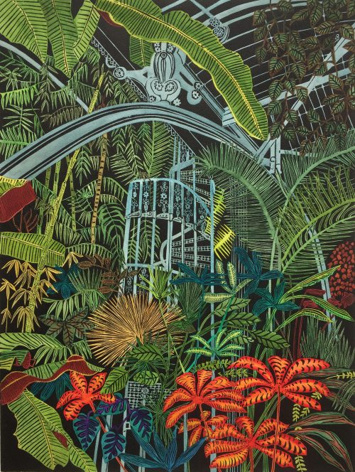 Greenhouse Earth, Botanical Print by Helen Anne Taylor, linocut printmaker