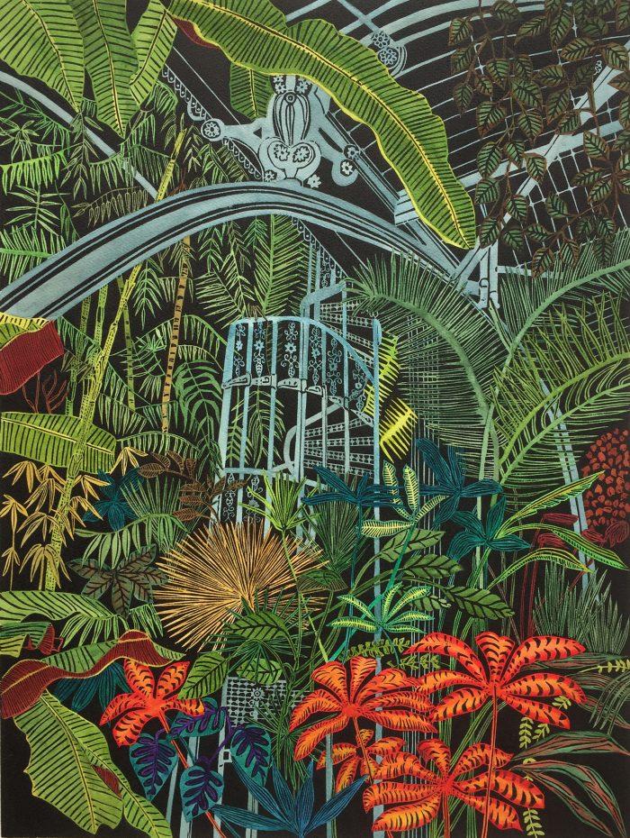 Greenhouse Earth, Botanical Print by Helen Anne Taylor, linocut printmaker