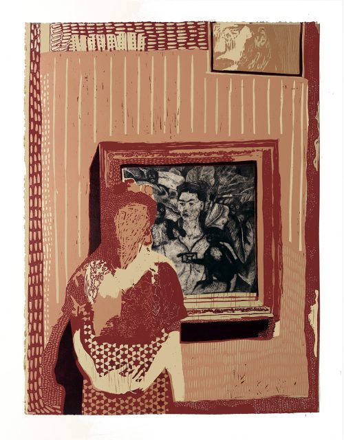 Woman Dressed as Frida in Front of Frida Kahlo Self-Portrait - Jake Garfield - Discover Contemporary Art Prints & Printmaking