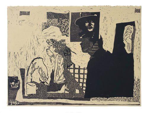 Man Painting a Clown, Bob Dylan Poster Behind - Jake Garfield - Discover Contemporary Art Prints & Printmaking