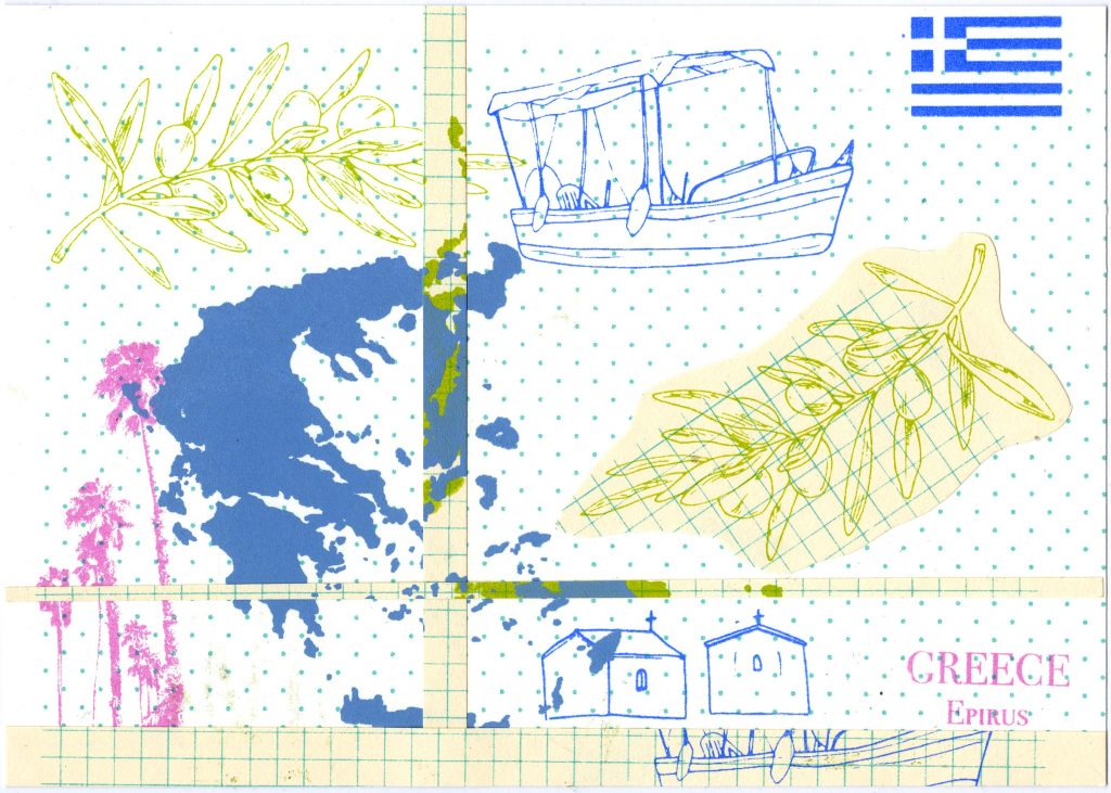 Greece postcard, Lily Banks, 2020, collaged with screen print